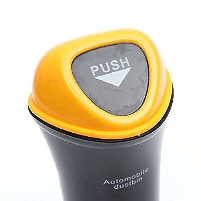 LIOOBO Mini Car Trash Can Bin with Lid Auto Dustbin Organizer Leakproof Vehicle Trash Bin Garbage Can (Yellow): Automotive
