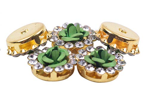 KAOYOO 10PCS Diameter of 0.8 Circle Gold Plated Metal Crystal Rhinestone Buttons for Clothing Champagne Shoes Headpieces,Wedding Dress Wedding Party Decorations,etc Bags