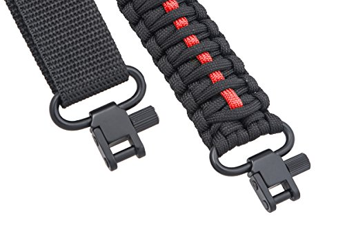 Gun Sling 550 Paracord – Rifle or Shotgun – 2 Point – Extra Strong Multi Use (Thin Red Line)