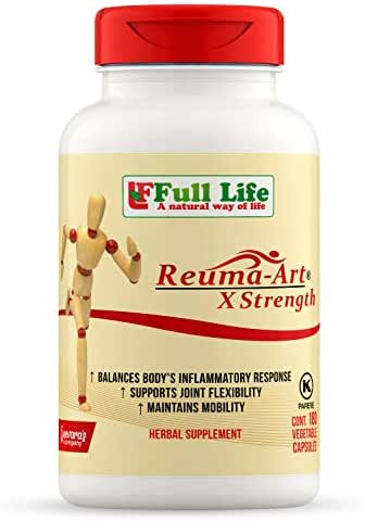 Full Life Reuma-Art X Strength - 180 Veggie Capsules - Extra Strength & Fast Acting Anti-Inflammatory - Joint Pain Relief Supplement
