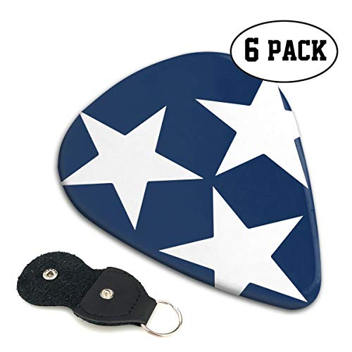 State Musical Keychain - LXXTK Unique Tennessee State Flag Star Celluloid Guitar Pick 6 Pack - Music Gifts for Bass, Electric & Acoustic Guitars