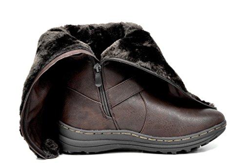 TRAUM-PAAR-Frauen Winter voll Pelz gefüttert Reißverschluss Schnee kniehohe Stiefel Kaninchen-brauner Pu