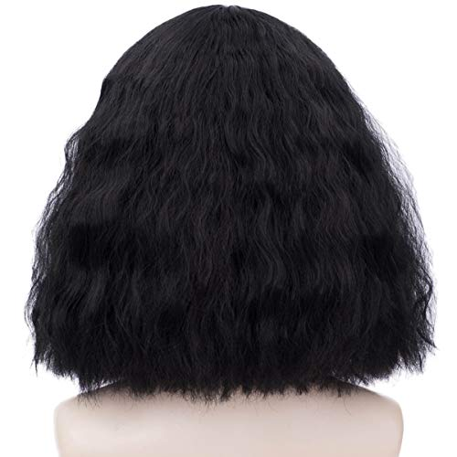Short Black Bob Wigs for Women Fluffy Curly Cosplay Costume Hair Wigs with Wig Cap Z109A