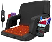 Blufree Extra Wide Heated Stadium Seat, Foldable Portable Bleacher Chair, 6 Reclinng Positions Back and Arm Su