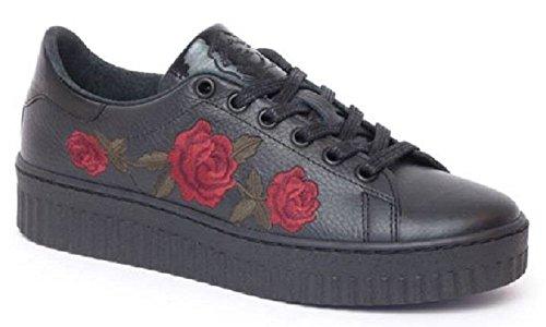 MONSHOE Damen Sneaker mit Rotem Rosen-Muster Echtleder Schwarz Chic Neu Top Bequem Ausgefallen