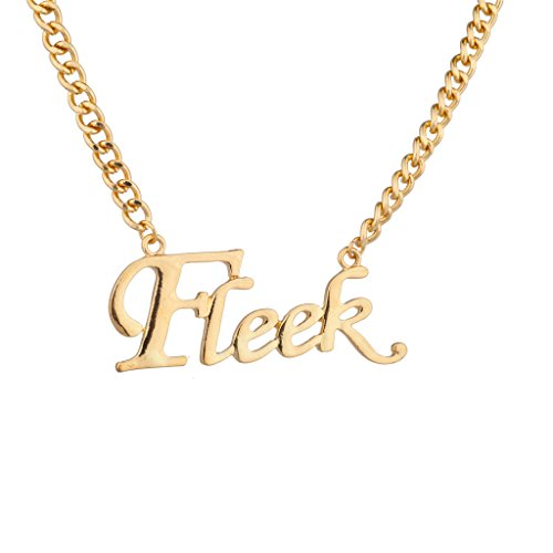 - Lux Accessories Fleek Gangster On Point No Joke Big Chain Link Word Pendant Necklace