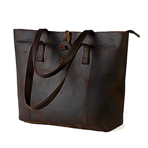- Minimalist Sturdy Durable Fits 16''Laptop Genuine Leather Handbag Tote Bag Shopper Purse Shoulder Bag School Bag Lady's Gift(Dark Brown2.0)