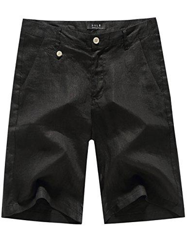SSLR Men's Light Weight Solid Flat Front Casual Linen Shorts (34, Black)