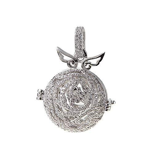 Wing Zircon Locket Ball Pendant Essential Oil Diffuser DIY Necklace (Color - A-Silver) ()