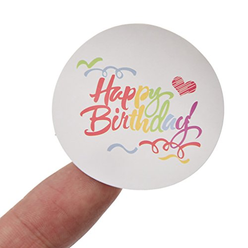 Multicolour Letter Happy Birthday Adhesive Sticker Envelope Seal Label Tag 100pc