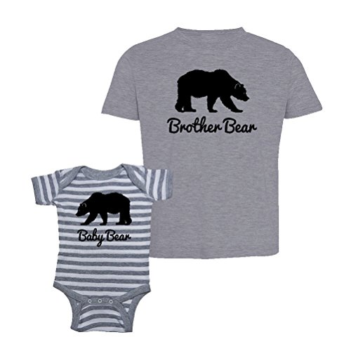 Mashed Clothing Brother Bear & Baby Bear T-Shirt & Striped Bodysuit Set (NB Striped Bodysuit, Toddler 2T, Heather Gray) (Toddler T-shirt Infant Bodysuit)