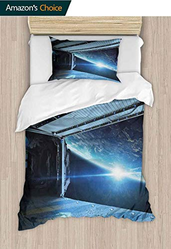 Outer Space DIY Quilt Cover and Pillowcase Set, Interstellar Airlock Shuttle Runway Gate Journey to The Stars Invasion View, Bedding Set Cover with 1 Pillow Shams Decorative Quilt Cover Set Blue Gray