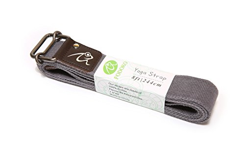 FODOKO Yoga Strap for Stretching Yoga Belt 8ft Durable Cotton Adjustable Buckle for Stretching,Flexibility and Physical Therapy (Gray, 8ft)