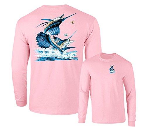 - Two Sailfish DEEP SEA Fishing Salt Water Fish Long Sleeve TEE, Pink, L