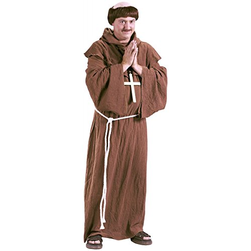 Medieval Monk with Wig Adult Costume - Plus (Plus Size Monk Adult Costumes)