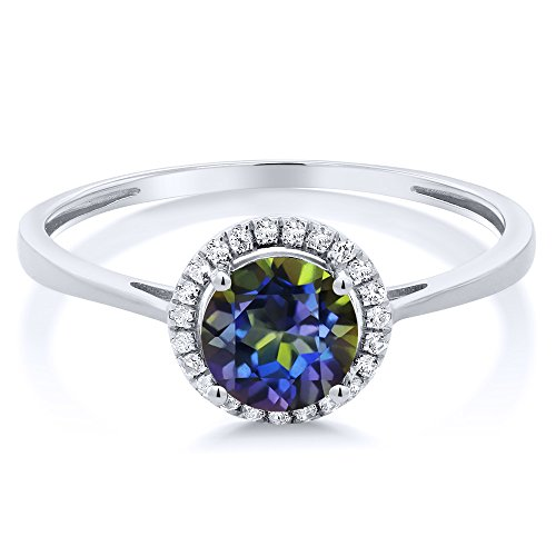 10K White Gold Diamond Engagement Ring Round Blue Mystic Topaz (1.22 cttw, Available in size 5, 6, 7, 8, 9)