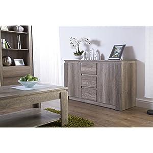 Right Deals UK Canyon 2 Door 3 Drawer Sideboard – Unique 3D Design Oak Finish