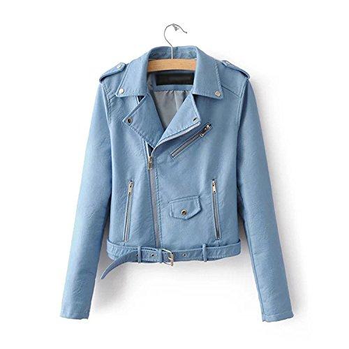 Mandaartins Women Short Faux Soft Leather Jacket Pu Leather Jacket Street Coat Blue L by Mandaartins