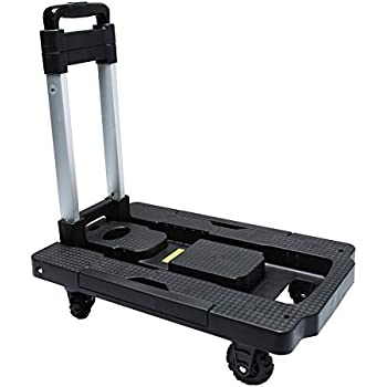 Kampeaburr Folding Hand Truck The Third Generation of New Upgraded, 5-Wheel Folding Trolley TPR Wheel 360° Rotating Dolly, Maximum Load-Bearing 330 LB Folding Hand Dolly can Shopping, Business Travel,
