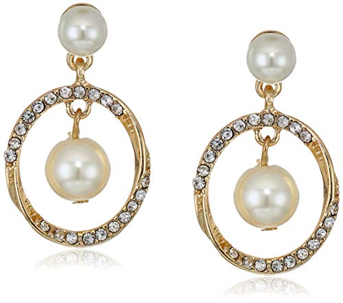 Anne Klein Women's Gold/Pearl/Crystal Halo Twist Orbital Drop - Crystal Gold Small
