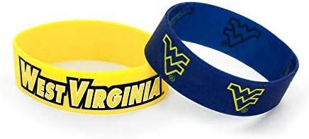 aminco NCAA West Virginia Mountaineers Team Lanyard Bottle Opener Keyring and Rubber Wristbands Gift Bundle