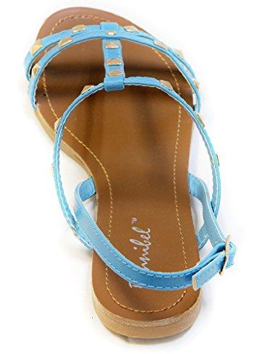 Bonnibel Eko-1 Donna Open Toe Decorazione Rockstud Cinturino Alla Caviglia Cinturino Alla Caviglia Cinturino Alla Caviglia Sandali Blu