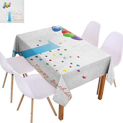 Resistant Table Cover 1st Birthday,Kids Party Theme One with Abstract and Colorful Stars and Balloons Artwork,Multicolor,Dinner Kichen Home Decor ()