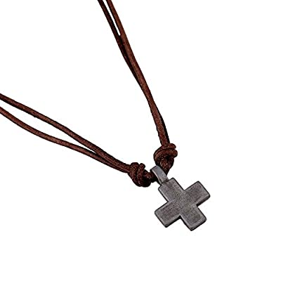 Men's Metal Cross Pendant on Brown Double Strand Leather Cord Choker Long Necklace