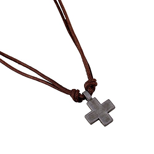 Mens Metal Cross Pendant on Brown Double Strand Leather Cord Choker Long Necklace