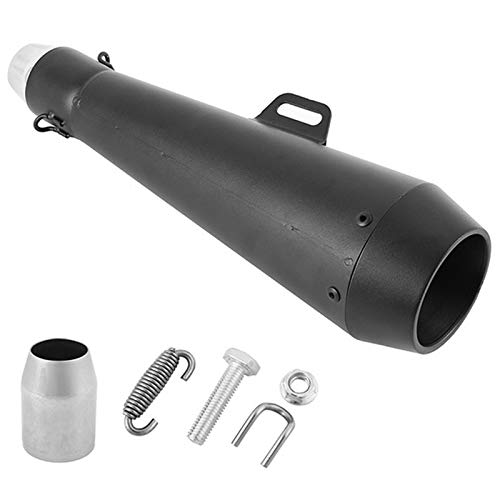 WOVELOT Motorcycle Modified Exhaust Pipe Exhaust Exhaust Silencer Black Belt Mounting Accessories: