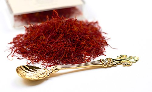 Coupe Spanish Saffron Threads (4 grams) Category 1 Spice Pure Azafran Filaments (Unmatched Aroma and Color for your Paella and Great Gift for Anyone who enjoys Cooking) by Movalyfe with Vintage Spoon
