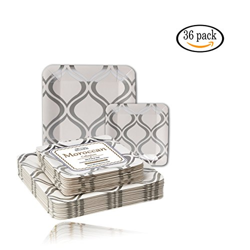 "36 Disposable Party Plates -  Dinnerware set of 18 10.5'' Dinner Plates & 18 7.5"" Salad Plates - Thick Sturdy Paper - Cut & Soak Resistant - Ideal for Parties, Weddings & Upscale Events - Silver"