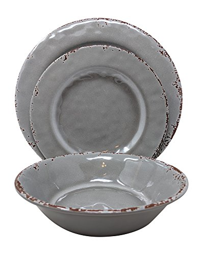 Gianna's Home 12 Piece Rustic Farmhouse Melamine Dinnerware Set, Service for 4 (Gray)