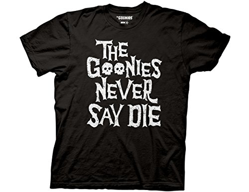 The Goonies Official Never Say Die Black Adult T-shirt - S to 3XL