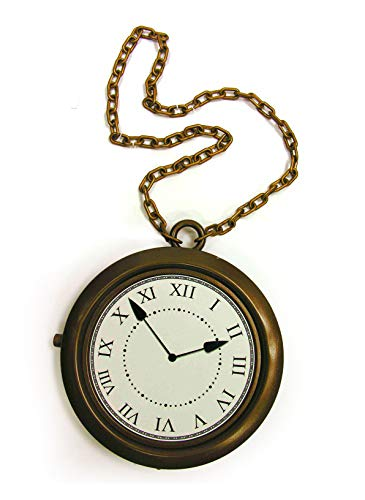 4E's Novelty Oversized Jumbo Clock Necklace, Halloween Party Costume, Alice in Wonderland Prop, White Rabbit, Hip Hop Rapper Clock Non Functioning 8 inches (Clock Rabbit)
