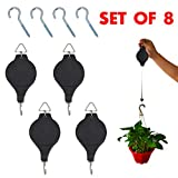 Set of 4 Plant Pulley Retractable Hanging Flower Basket Hook with 4 Pcs Ceiling Hooks for Garden Baskets Pots and Birds Feeder (4 Pulleys+4 Hooks) by OVOV