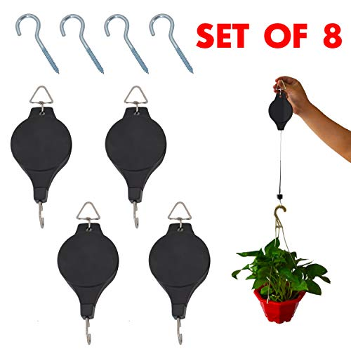 Set of 4 Plant Pulley Retractable Hanging Flower Basket Hook with 4 Pcs Ceiling Hooks for Garden Baskets Pots and Birds Feeder (4 Pulleys+4 Hooks) by OVOV by OVOV