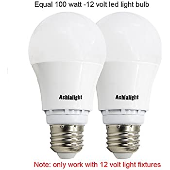 Ashialight LED 12 Volt Bulbs,Medium Screw Base,Low Voltage Light Bulbs,Equivalent 100W Bulb,Warm White 3000K for RV Camper Marine,Off Grid and Solar Light Fixture (Pack of 2)