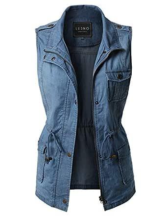 LE3NO Womens Lightweight Sleeveless Denim Anorak Military Vest with Waist Drawstring, DARKBLUE, Small