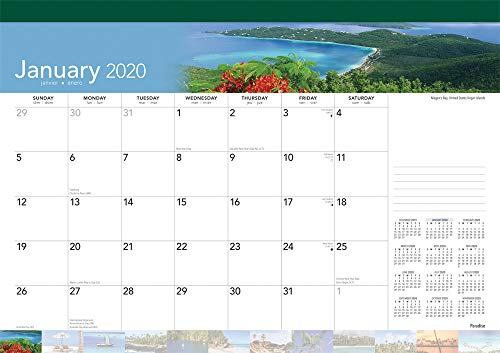 (Paradise 2020 17 x 12 Inch Monthly Desk Pad Calendar, Scenic Travel Nature Tropical)