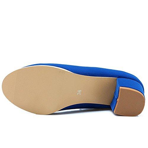 COOLCEPT Mujer Elegante Hebilla Correa Tacon Ancho Boca Baja Zapatos Azul