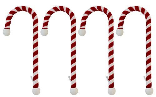 - Haute Decor Candy Cane Stocking Holder, (Velvet Material Version) 4-Pack, Classic Red & White