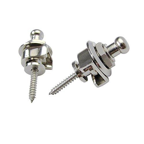 Greententljs 2Pcs Guitar Strap Lock Straplock Button For All Acoustic Electric Bass Guitar Strap (Silver)
