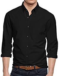 HB Men's Slim Fit Button Down Casual Long Sleeve Dress Shirt