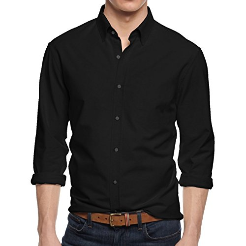 HB Men's Slim Fit Button Down Casual Long Sleeve Dress Shirt  - Small / 14-14.5 - Black