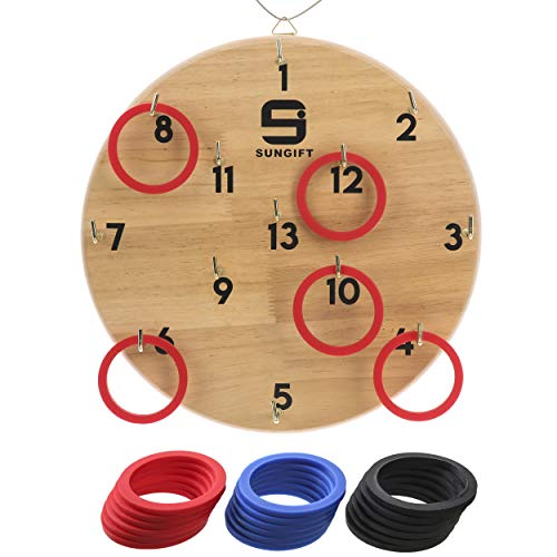 Sungift Hook and Ring Toss Game for Kids and Adults, Fun Games for Family, Home, Party or Office, 18 Rings and Extra 2 Hooks