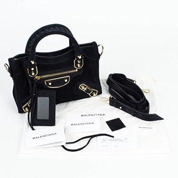 8f6cfbb5bee1 Amazon.com   Balenciaga Black Suede Leather Metallic Nano City AJ Satchel  Bag   Baby