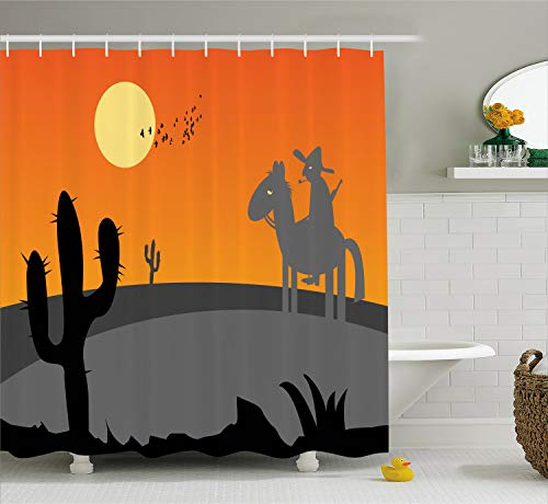 - Ambesonne Southwestern Shower Curtain, Cartoon Style Hot Mexico Desert Landscape with Saguaro Cactus and Horse Rider, Cloth Fabric Bathroom Decor Set with Hooks, 75 inches Long, Orange Grey