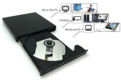 External blu-ray DVD Drive for PC Computer USB 2.0 DVD Player CD Burner BD-ROM DVD/CD-RW Support Super-Laptop Desktop Notebook PC by tengertang (Image #1)