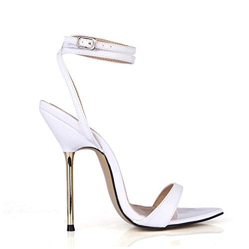 Notturna Femminili Mostra Sandali Con I Pearl Alto Vita White Col Scarpe Ferro Tacco Di Banchetto angaZ8RE